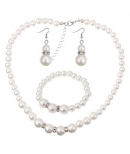 Korean Fashion Simplistic Fashion Pearl Necklace Earrings and Bracelet Set