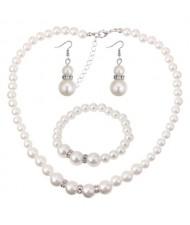 Korean Fashion Simplistic Fashion Pearl Necklace Earrings and Bracelet Set