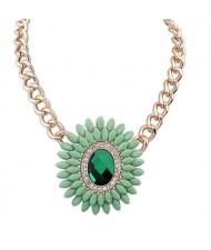 Resin and Glass Flower Pendant Chunky Fashion Costume Necklace - Green