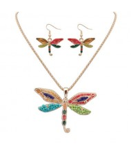 Oil-spot Glazed Colorful Dragonfly Necklace and Earrings Set - Golden