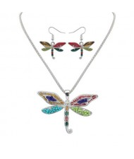 Oil-spot Glazed Colorful Dragonfly Necklace and Earrings Set - Silver