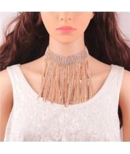 Rhinestone Inlaid Glistening Tassel Collar Fashion Statement Necklace - Golden