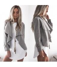 High Fashion Lapel Style Women Top - Gray