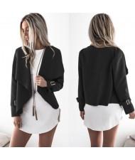 High Fashion Lapel Style Women Top - Black