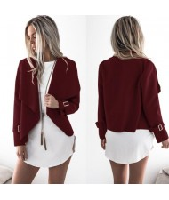 High Fashion Lapel Style Women Top - Wine Red