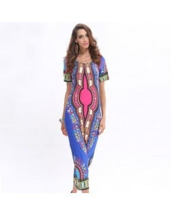 Tribal Folk Fashion Floral Prints One-piece Women Dress - Blue