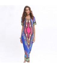 Tribal Folk Fashion Floral Prints One-piece Women Dress - Blue