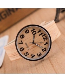 6 Colors Available Wooden Texture Digits Index Design High Fashion Unisex Wrist Watch