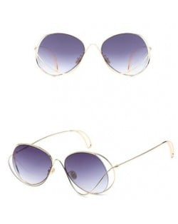 7 Colors Available Unique Alloy Dimentional  Frame Design High Fashion Sunglasses