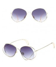 7 Colors Available Unique Alloy Dimensional Frame Design High Fashion Sunglasses