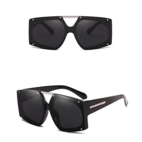 20c2451ea3 6 Colors Rivets Decorated Large Frame with Arrow Embellished Legs Unisex  Fashion Sunglasses