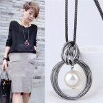 Pearl Pendant Inlaid Vintage Hoop Design Long Chain Women Necklace - White