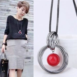 Pearl Pendant Inlaid Vintage Hoop Design Long Chain Women Necklace - Red