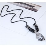Hollow Alloy Leaf Pendant Long Chain Fashion Necklace
