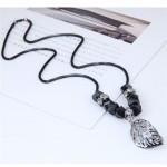 Hollow Alloy Leaf Pendant Long Chain Fashion Necklace