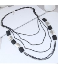 Black and Silver Squares Combo Design Multi-layers High Fashion Costume Necklace
