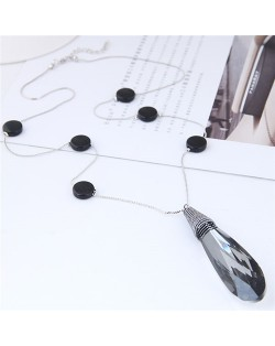 Shining Crystal Waterdrop Pendant Beads Decorated Long Chain Statement Necklace