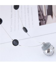 Glistening Crystal Ball Pendant Long Chain High Fashion Necklace