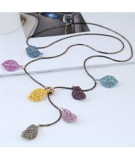 Multiple Colors Hollow Leaves Long Style Costume Necklace