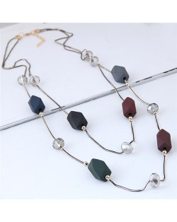 Resin Gems and Crystal Beads Decorated Dual Layers Long Style Fashion Necklace