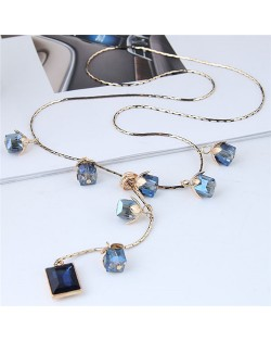 Blue Crystal Flowers and Square Gem Pendant Long Chain Fashion Necklace