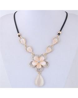 Rhinestone Embellished Flowers with Opal Waterdrop Women Fashion Statement Necklace