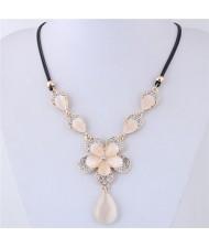 Rhinestone Embellished Flowers with Opal Waterdrop Women Fashion Statement Necklace