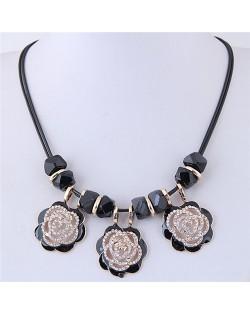 Rhinestone Embellished Hollow Black Roses Short Rope Fashion Necklace