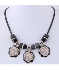 Rhinestone Embellished Hollow Black Roses Short Rope Fashion Necklace