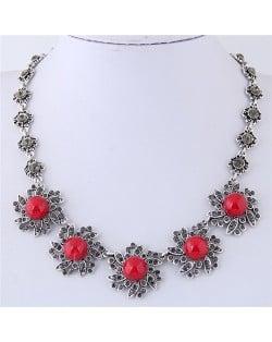 Rhinestone Inlaid Red Sunflower Vintage Fashion Statement Necklace