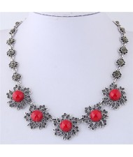 Rhinestone Inlaid Red Sunflower Vintage Fashion Statement Necklace