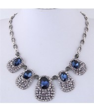 Glistening Waterdrops Vintage Fashion Short Costume Necklace