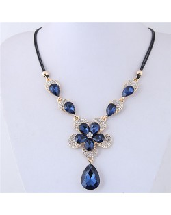 Shining Dimensional Floral Design Waterdrop Pendant Short Rope Costume Necklace