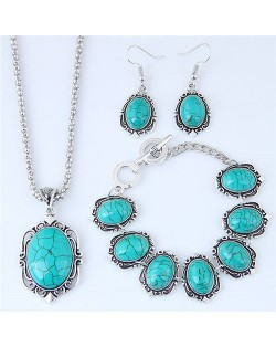 Artificial Turquoise Inlaid Vintage Style Necklace Earrings and Bracelet Set
