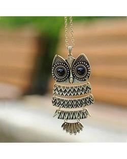 Long Design Vintage Owl Pendant Necklace