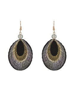 Folk Style Peacock Feather Design Embroidery Fashion Dangling Earrings - White