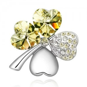 Austrian Crystal and Czech Stones Four Leaf Clover Brooch - Light Yellow