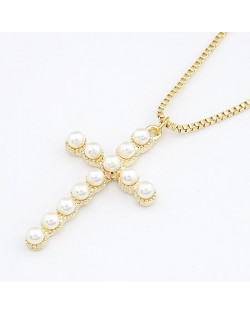 Pearl Embedded Cross Pendant Necklace