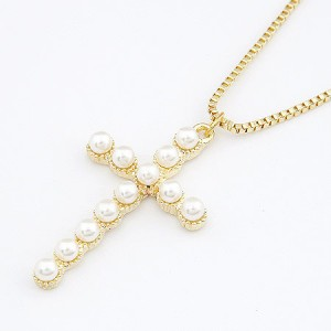 Pearl embedded cross pendant necklace aloadofball