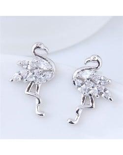 Shining Cubic Zirconia Inlaid Swan High Fashion Copper Stud Earrings - Silver