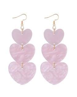 Linked Triple Seashell Hearts Dangling Fashion Earrings