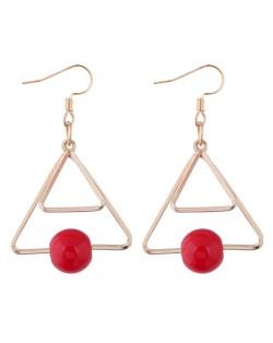 Red Bead Decorated Dual Triangles Dangling Fashion Earrings