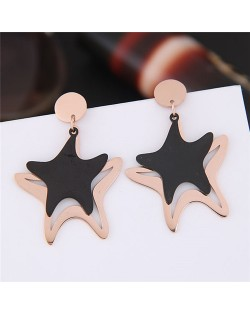 Twin Starfish Design Dangling Titanium and Rose Gold Fashion Earrings
