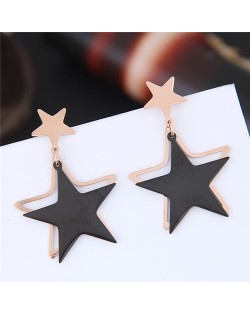 Twin Lucky Stars High Fashion Titanium and Rose Gold Earrings