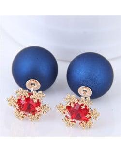Shining Cubic Zirconia Snow Flake Decorated Matting Texture Ball Fashion Earrings - Blue