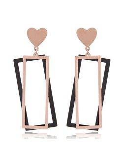 Dual Oblongs Heart Fashion Titanium and Rose Gold Stud Earrings