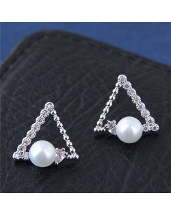 Cubic Zirconia Embellished Pearl Fashion Copper Triangle Earrings