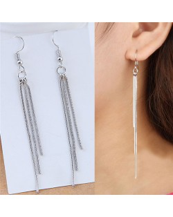 Triple Strands of Tassel Design Slim Fashion Earrings