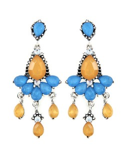 Rhinestones and Acrylic Gems Embellished Resplendent Floral Waterdrops Design Earrings - Yellow