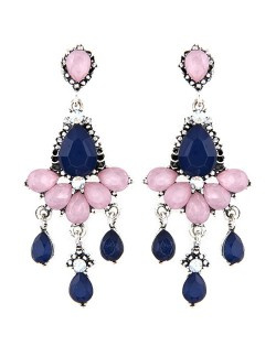Rhinestones and Acrylic Gems Embellished Resplendent Floral Waterdrops Design Earrings - Dark Blue